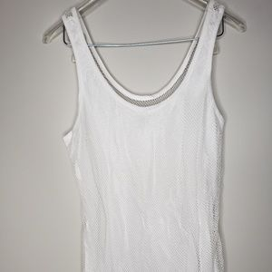 Fabletics Womens White Mesh Tank Large